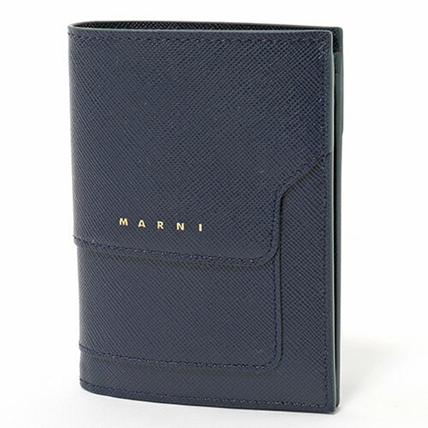 MARNI マルニ PFMOQ14U07 LV520 レザー 二つ折り財布 ミニ財布 スモール 豆財布 カラーZ045V/NIGHT BLUE レディース
