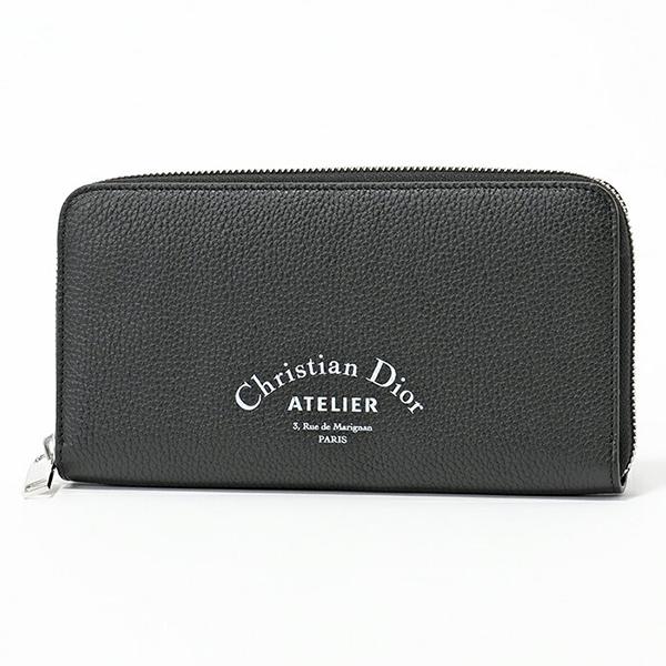 Dior Homme ディオールオム 2ATBC011 XXX 03EU レザー ラウンドファスナー長財布 アトリエロゴ カラーH03E/Noir-Multi メンズ