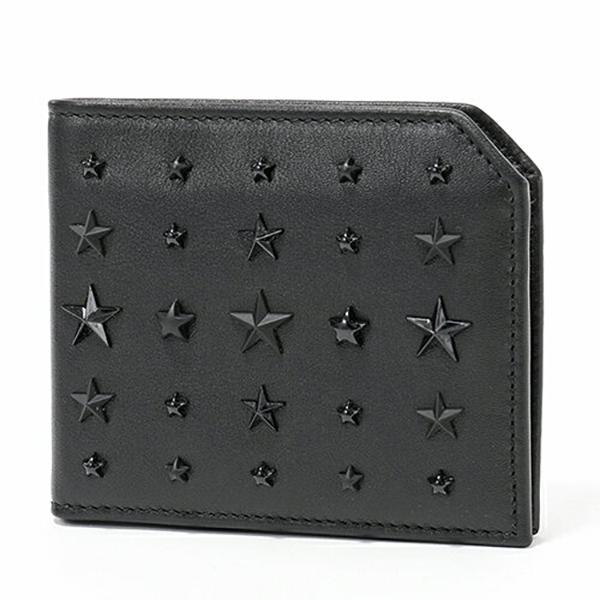 JIMMY CHOO ジミーチュウ ALBANY LXA LXA ミックス スタースタッズ装飾 レザー 二つ折り財布 小銭入れあり カラーBLACK メンズ