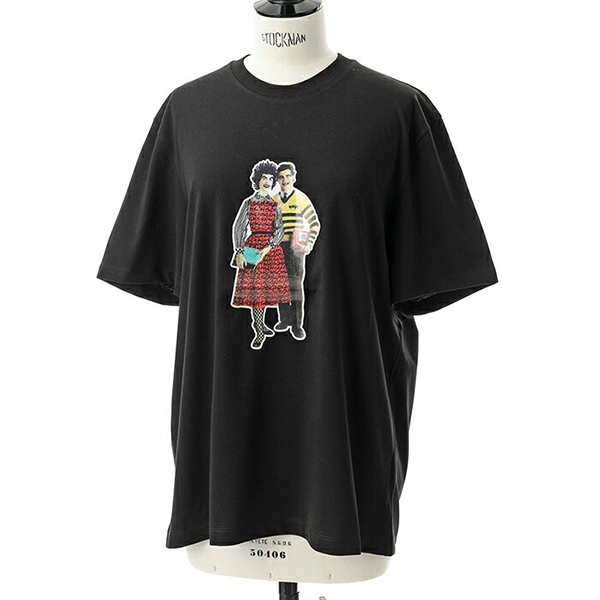 MSGM エムエスジーエム 2541 MDM167 オーバーサイズ 半袖 Tシャツ クルーネック ビッグシルエット プリント カットソー カラー99/ブラック レディース