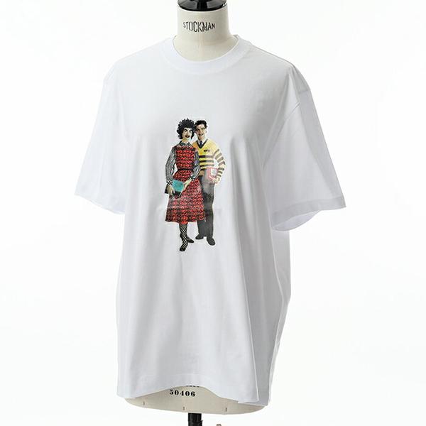 MSGM エムエスジーエム 2541 MDM167 オーバーサイズ 半袖 Tシャツ クルーネック ビッグシルエット プリント カットソー カラー01/ホワイト レディース 訳有