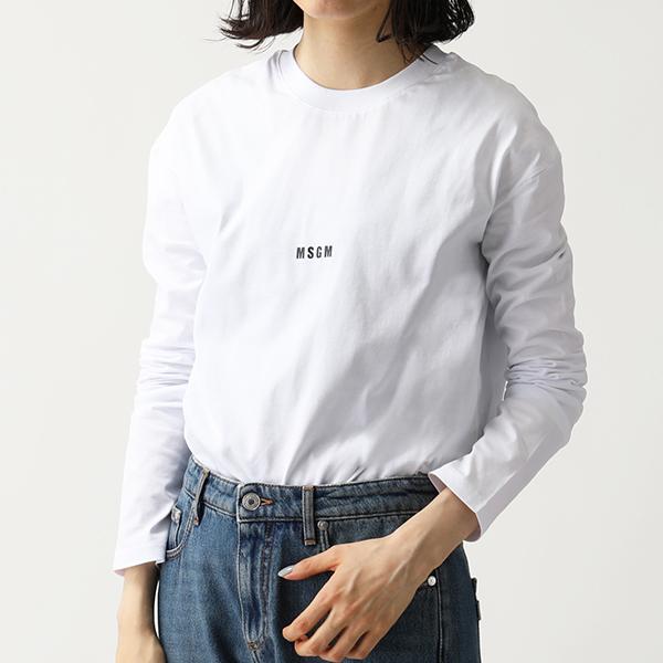 MSGM エムエスジーエム 2641 MDM101 長袖Tシャツ カットソー クルーネック 丸首 ちびロゴ 01/ホワイト レディース