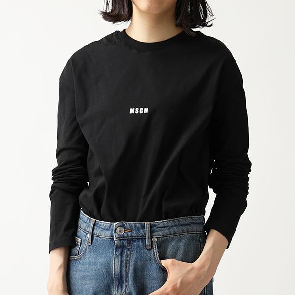 MSGM エムエスジーエム 2641 MDM101 長袖Tシャツ カットソー クルーネック 丸首 ちびロゴ 99/ブラック レディース