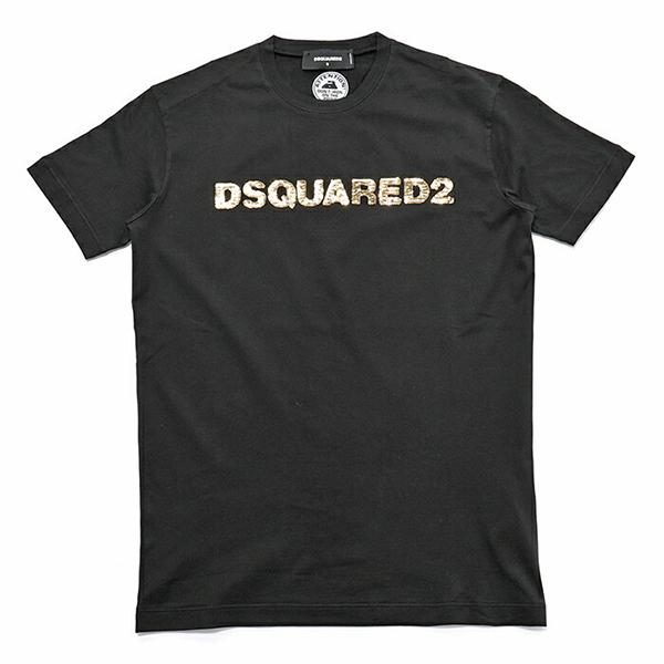 DSQUARED2 ディースクエアード D2 S74GD0457 S22427 スパンコールロゴ クルーネック 半袖 Tシャツ カットソー 丸首 カラー963/ブラック×ゴールド メンズ