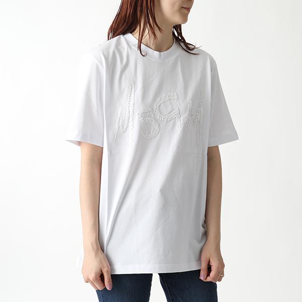 MSGM エムエスジーエム 2543 MDM66 スパンコールロゴ 半袖 Tシャツ クルーネック カットソー カラー01/ホワイト レディース