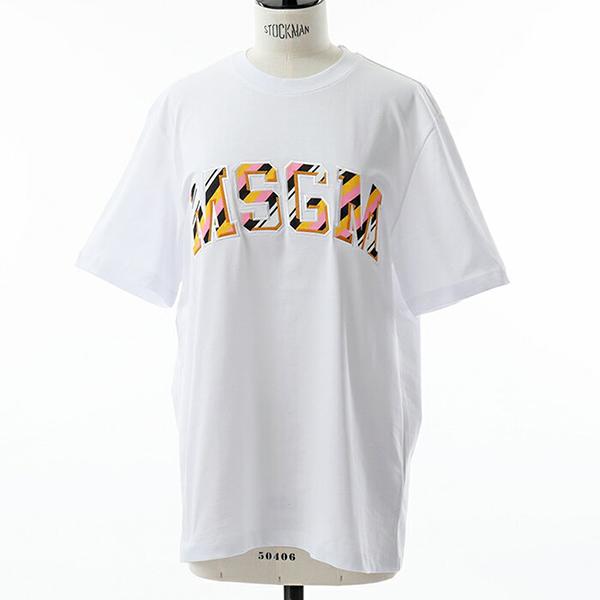 MSGM エムエスジーエム 2543 MDM67 オーバーサイズ 半袖 Tシャツ クルーネック ビッグシルエット カットソー カラー01/ホワイト他 レディース