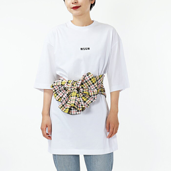 MSGM エムエスジーエム 2541 MDA68 五分袖 ロング オーバーサイズ タイ Tシャツ チュニック カットソー クルーネック チェック柄 カラー01/ホワイト他 レディース