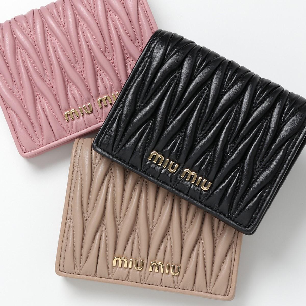 miumiu ミュウミュウ 5MV204 N88 F0002 MATELASSE マテラッセ キルティングレザー 二つ折り財布 スモール ミニ財布 豆財布 カラーNERO