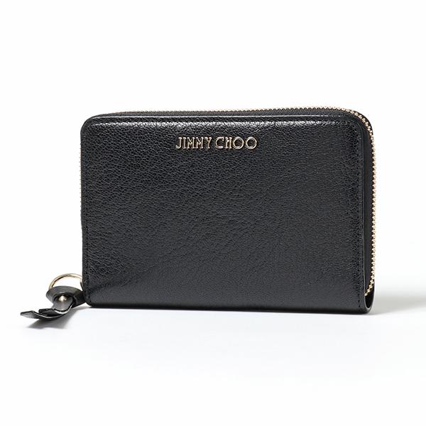 JIMMY CHOO ジミーチュウ CHRISTIE GRZ レザー ラウンドファスナー ミディアム財布 スモール財布 ロゴ金具プレート カラーBLACK レディース