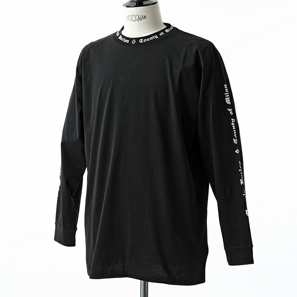 MARCELO BURLON マルセロバーロン CMAB007E18001005 クルーネック 長袖Tシャツ リブ カットソー カラー1001/BLACK メンズ
