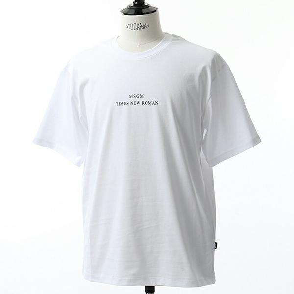 MSGM エムエスジーエム 2540 MM103 半袖 Tシャツ カットソー クルーネック 丸首 オーバーサイズ ビッグシルエット ちびロゴ カラー01/ホワイト メンズ