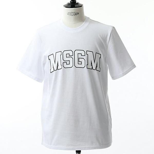 MSGM エムエスジーエム 2540 MM179 半袖 Tシャツ カットソー クルーネック 丸首 オーバーサイズ ビッグシルエット ロゴ カラー01/ホワイト メンズ