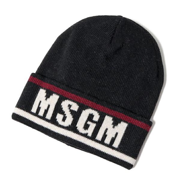 MSGM エムエスジーエム 2540 ML10 カシミヤ混 ウール ニットキャップ ニット帽 リブ 帽子 ロゴ カラー99/ブラック他 メンズ