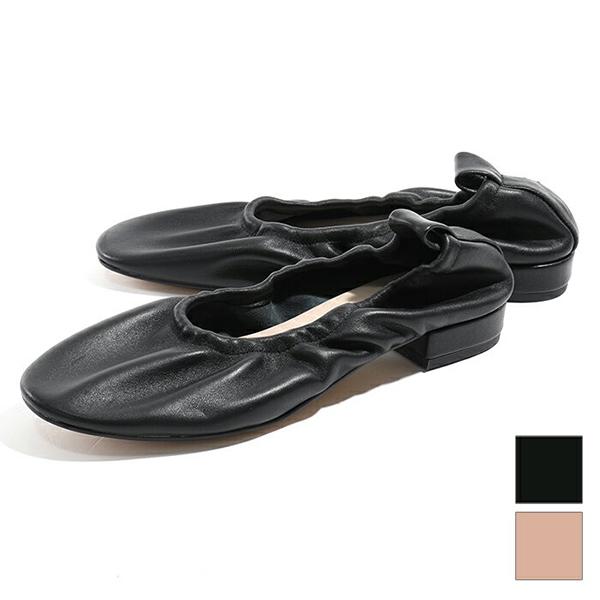 MOHI モヒ 19605 SOFIA スムースレザー バレエシューズ スクエアトゥ シャーリング パンプス カラー2色 レディース