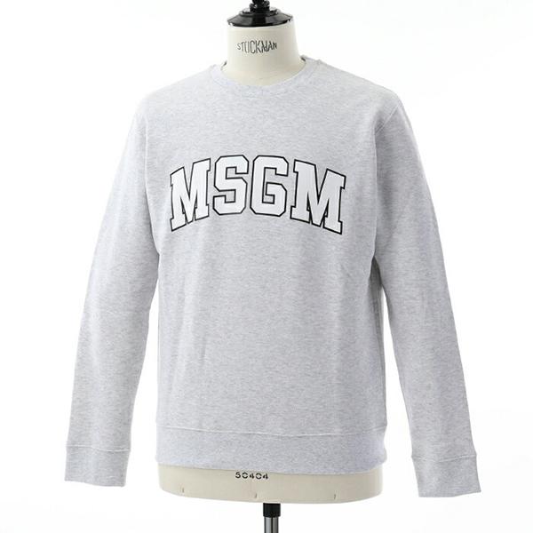 MSGM エムエスジーエム 2540 MM178 クルーネック スウェット スエット トレーナー ビッグロゴプリント 裏起毛 カラー94/ライトグレー メンズ