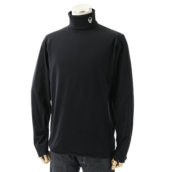 lucien pellat-finet ルシアンペラフィネ EVU 2053 長袖Tシャツ スカルクリスタル装飾 カットソー ロンT タートルネック ハイネック カラーBLACK メンズ