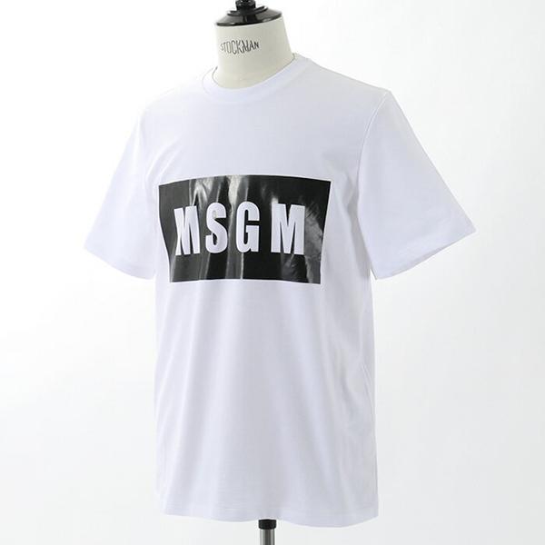 MSGM エムエスジーエム 1000MM67 イタリア製 半袖 丸首 カットソー ボックスロゴ ロゴプリント コットン ストレッチ カラー01/ホワイト メンズ