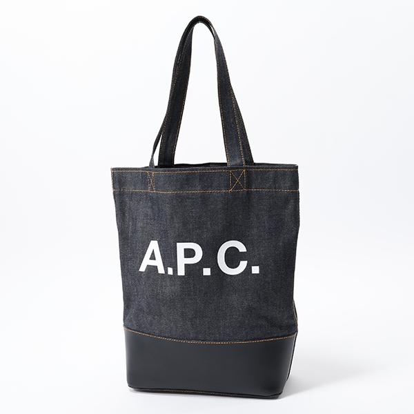 APC A.P.C. アーペーセーCOCUU H61229 cabas Axel IAK デニム×レザー トートバッグ ショッピングバッグ カラーDARKNAVY メンズ レディース