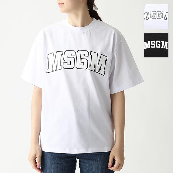 MSGM エムエスジーエム 2641 MDM162 オーバーサイズ 半袖 Tシャツ クルーネック ビッグシルエット カットソー 01/ホワイト レディース