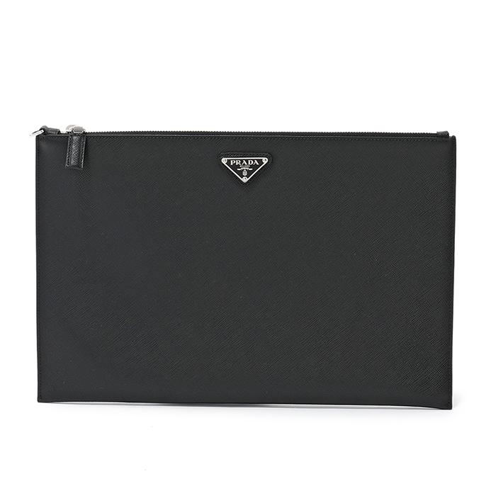 PRADA プラダ メンズ 2NG001 PN9 F0002 クラッチバッグ ドキュメントケース 書類ケース 書類入れ サフィアーノレザー カラーNERO/ブラック