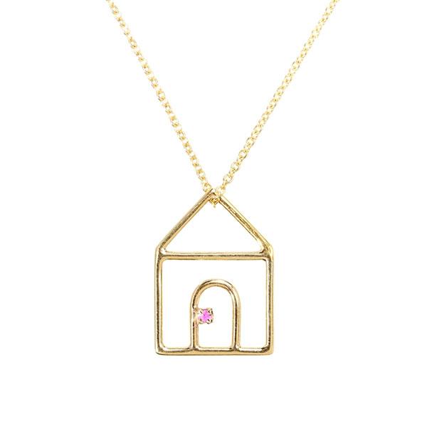 ALIITA アリータ CASITA ZAFIRO NECKLACE WITH PINK SAPPHIRE クリスタル ストーン 家 モチーフ ネックレス ペンダント アクセサリー カラー9KT-YELLOWGOLD/イエローゴールド×ピンクサファイア