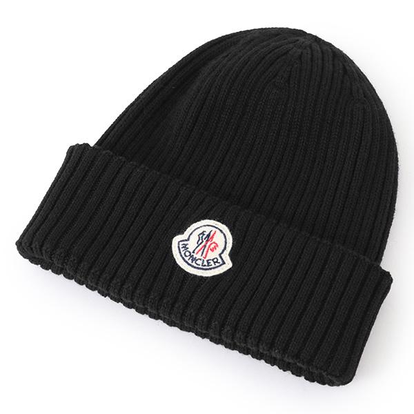 MONCLER モンクレール 0029900 02309 ニットキャップ 帽子 ニット帽 リブ編み カラー999/ブラック サイズ/F メンズ