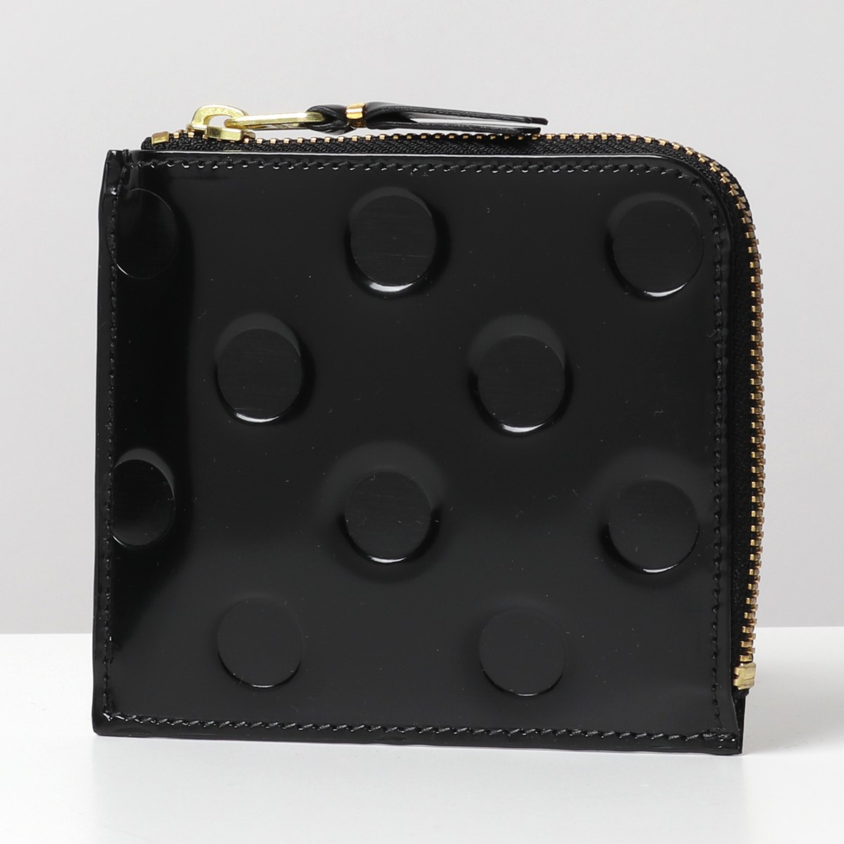 COMME des GARCONS コムデギャルソン SA3100NE POLKA DOTS EMBOSSED L字ファスナー ミニ財布 豆財布 カードケース 小銭入れ コインケース ドット 水玉 カラーBLACK/ブラック