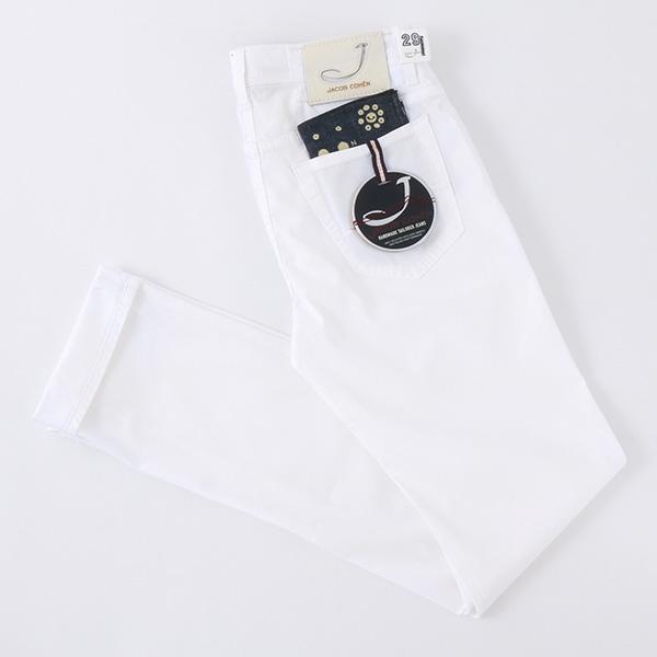 JACOB COHEN ヤコブコーエン J688 COMF 00948B-4901 カラーパンツ ストレッチ コットンパンツ ハラコパッチ ポケットチーフ付き カラー100/Bianco メンズ