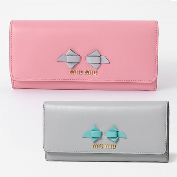 miumiu ミュウミュウ 5MH109 UEI F0SXY PATTINA リボン レザー 二つ折り 長財布 パスケース付き カラーPETALO+GRANITO レディース