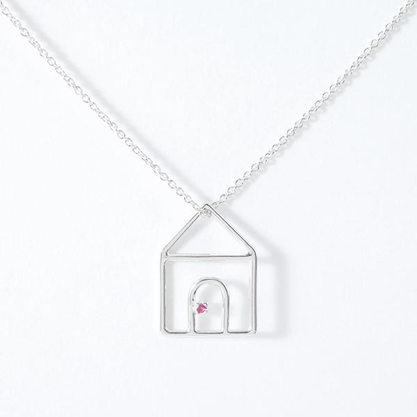 ALIITA アリータ CASITA RUBI NECKLACE WITH RED RUBINE クリスタル ストーン 家 モチーフ ネックレス ペンダント アクセサリー カラー9KT-WHITEGOLD