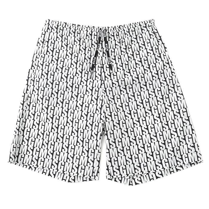 MSGM エムエスジーエム 2440MB01A ハーフパンツ ショートパンツ バミューダ 半ズボン ロゴ カラー99/ブラック×ホワイト メンズ