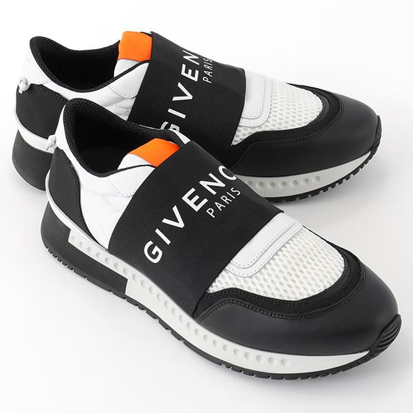 GIVENCHY ジバンシィ BH0001H01J レザー×ナイロンメッシュ ロゴバンド ローカット スニーカー シューズ カラー004/BLACK-WHITE メンズ