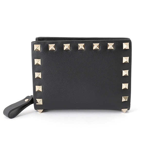 VALENTINO ヴァレンティノ PW2P0620 BOL ロックスタッズ装飾 レザー 二つ折り財布 ミニ財布 豆財布 カラー0NO/ブラック レディース