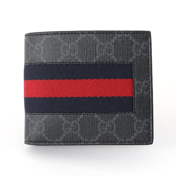GUCCI グッチ 408826 KHN4N GGスプリーム ウェブライン New Web 二つ折り財布 小銭入れあり ミニ財布 カラー1095/ブラック他 メンズ