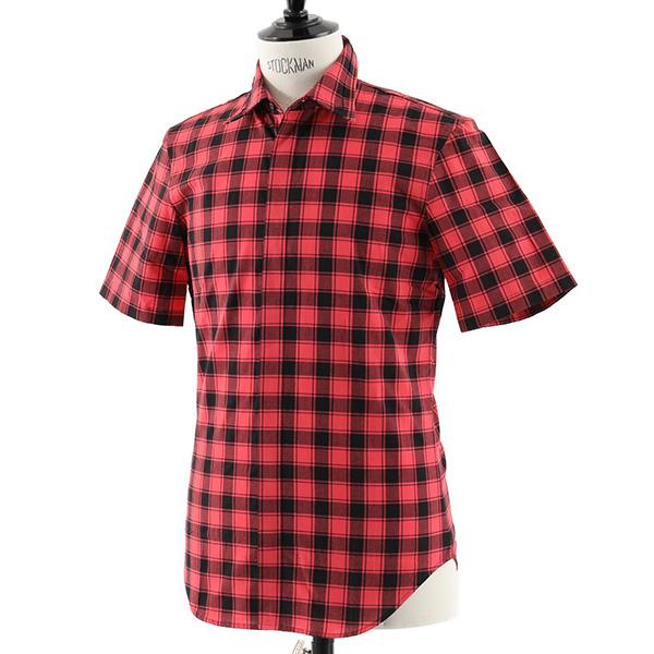 Maison Margiela メゾンマルジェラ 10 S30 DL0393 S48688 半袖 チェックシャツ コットン 柄 カラー001F/レッド×ブラック メンズ