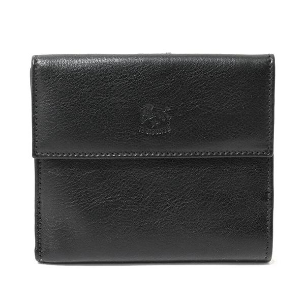 ILBISONTE イルビゾンテ C0621 P VACCHETTA レザー 二つ折り財布 ミディアム財布 小銭入れ付き カラー153/BLACK メンズ