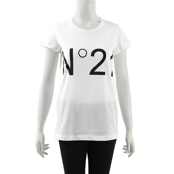 N°21 ヌメロ ヴェントゥーノ F031 6363 クルーネック 半袖 Tシャツ カットソー ロゴ カラー1101/ホワイト レディース