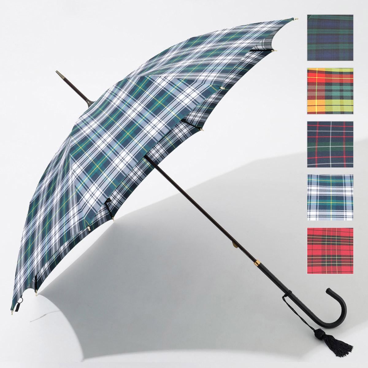 FOX UMBRELLAS フォックスアンブレラ WL1 SLIM LEATHER CROOK チェック柄 細革巻 ハンドル 雨傘 パラソル 雨具 タッセルチャーム付き カラー5色 レディース