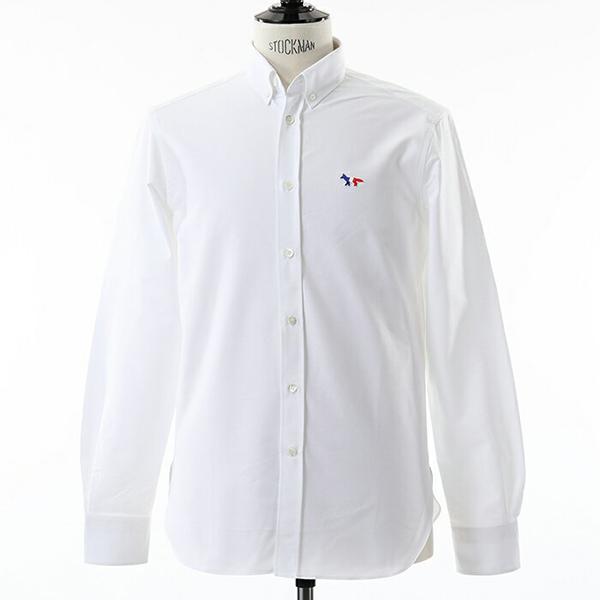 MAISON KITSUNE メゾンキツネ AM00400AT1000 OXFORD TRICOLOR PATCH CLASSIC SHIRT 長袖シャツ カジュアルシャツ カラーWHITE メンズ