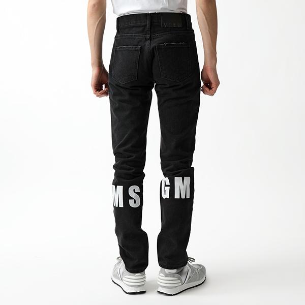 MSGM エムエスジーエム 2440 MP42LX デニム パンツ ジーンズ ロゴプリント カラー99/ブラック メンズ