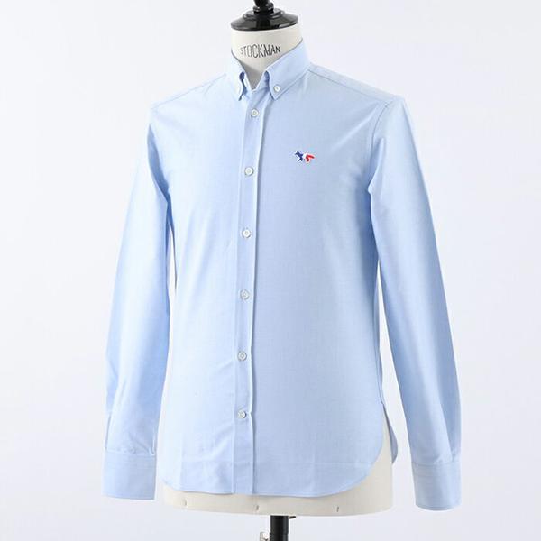 MAISON KITSUNE メゾンキツネ 0400AT OXFORD TRICOLOR FOX PATCH CLASSIC SHIRT 長袖シャツ カジュアルシャツ カラーLIGHT-BLUE メンズ
