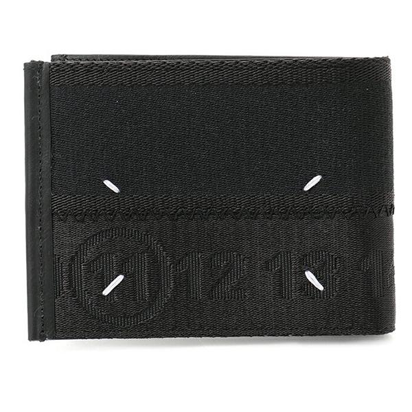 Maison Margiela メゾンマルジェラ 11 S35UI0411 S48802 ジャガード×レザー 二つ折り財布 小銭入れなし スモール財布 カラー900/ブラック メンズ