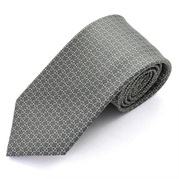 HERMES エルメス CRAVATE TWILL フランス製 シルク ネクタイ 柄 ブランドBOX UNCHAINED カラーGRISFONCE-ACIER