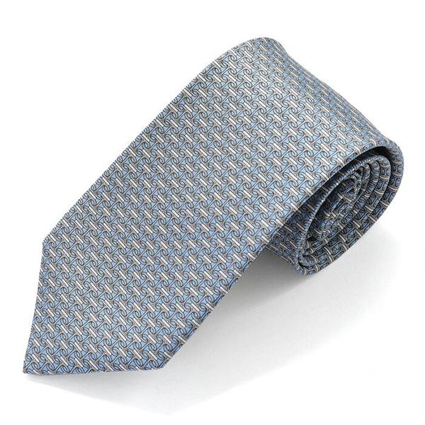 HERMES エルメス CRAVATE TWILL フランス製 シルク ネクタイ 柄 ブランドBOX SERENADE カラーAZUR/GRIS/BLANC