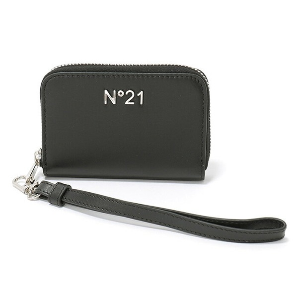 N°21 ヌメロ ヴェントゥーノ Y1M 7355 B329 レザー ラウンドファスナー カードケース コインケース メタルロゴ リストレット付き カラー9000 メンズ
