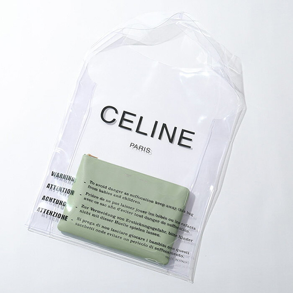 【限定クリアバッグ付き】CELINE セリーヌ 104003A9Q.29CN SOLO Clutch Pouch ソロ レザー クラッチバッグ ポーチ カラーCeladon レディース