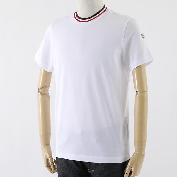 MONCLER モンクレール 8028300 8390Y トリコロール編み クルーネック 半袖 Tシャツ 丸首 カットソー ロゴワッペン カラー001/ホワイト メンズ