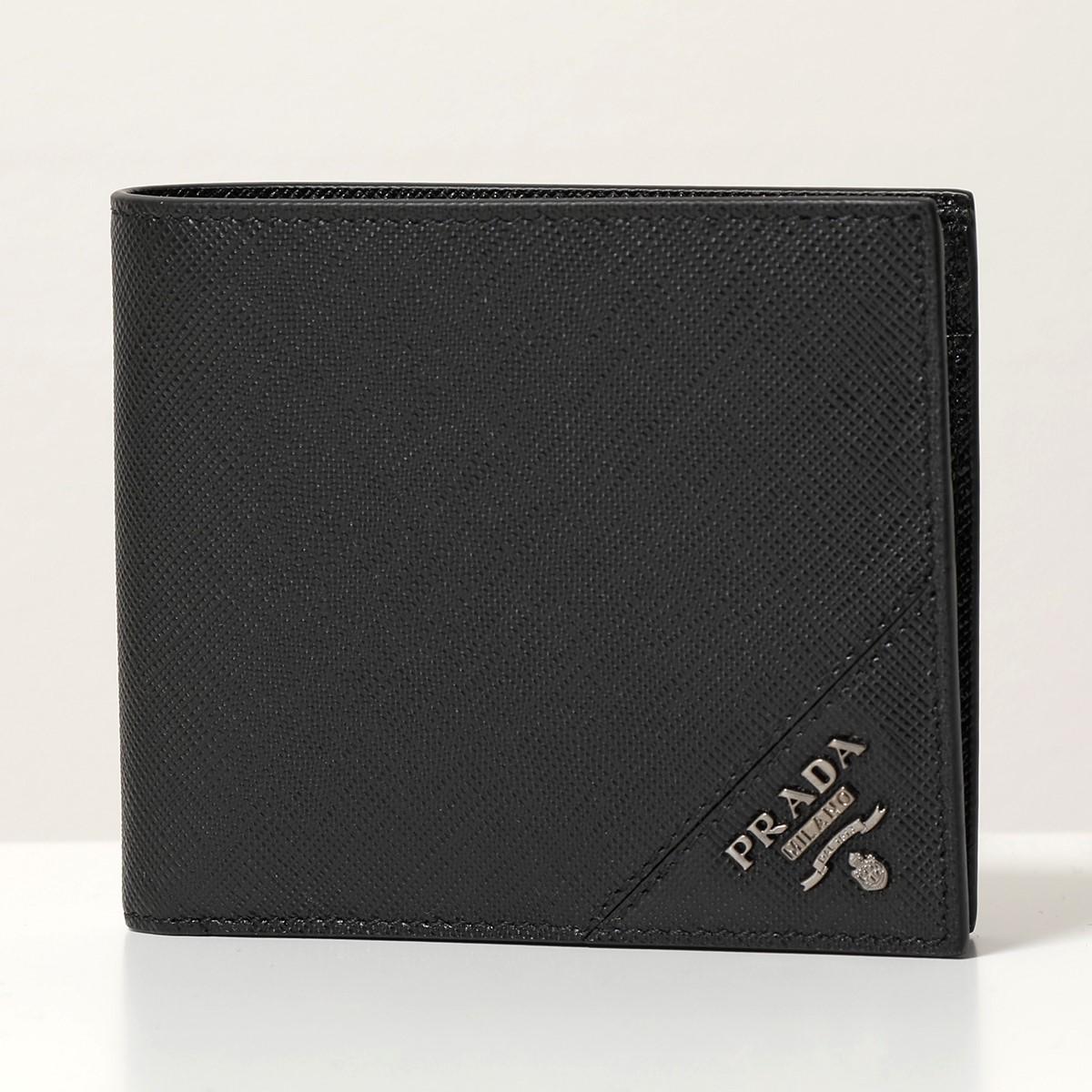 PRADA プラダ メンズ 2MO738 QME F0002 SAFFIANO METAL 小銭入れ付き 二つ折り財布 サフィアーノ レザー カラーNERO/ブラック