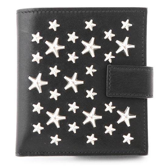 JIMMY CHOO ジミーチュウ FRIDA CST スタースタッズ 装飾 レザー 二つ折り ミディアム財布 ミニ財布 豆財布 カラーBLACK/ブラック レディース
