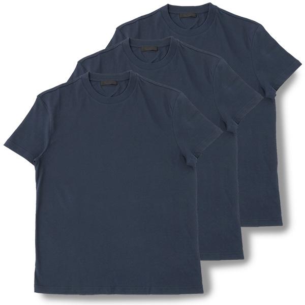 PRADA プラダ UJM492 ILK F0124 3枚セット パックT 無地 半袖 Tシャツ カットソー クルーネック 丸首 カラーNAVY メンズ